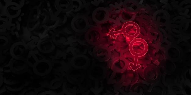 Arte conceptual sobre el tema de la ilustración 3d de amor del mismo sexo.