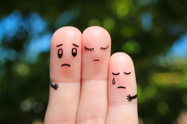 Arte del dedo de la familia disgustada.