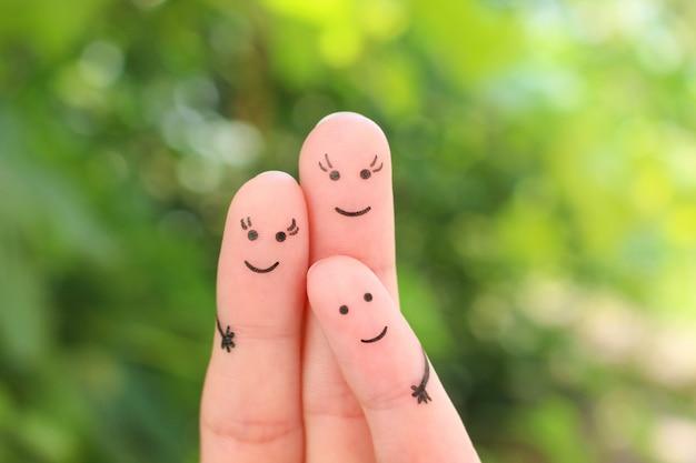 Arte de los dedos de la familia feliz. concepto pareja gay con niño.