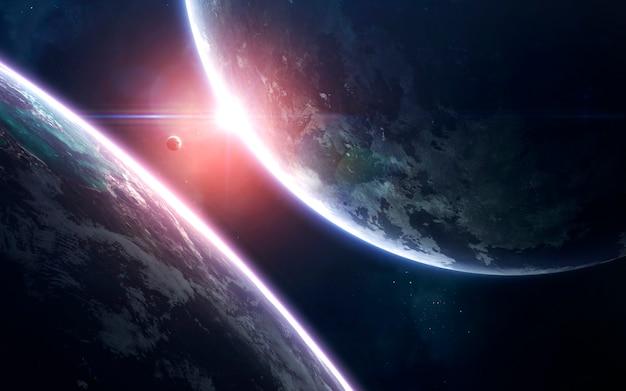 Arte espacial, increíblemente hermoso fondo de pantalla de ciencia ficción. universo sin fin.