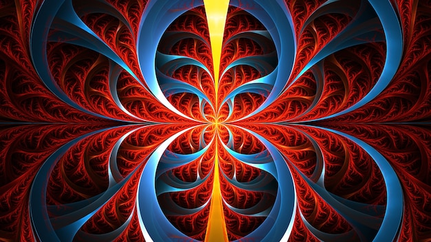 Arte fractal abstracto. adorno geométrico floral rojo y azul.