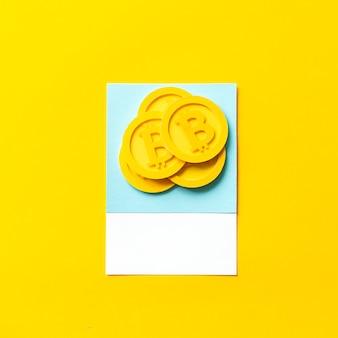 Arte de papel artesanal de bitcoins.