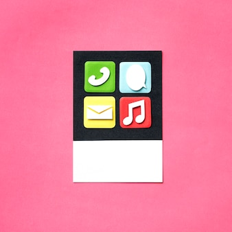 Arte de papel artesanal de iconos de aplicaciones y medios.