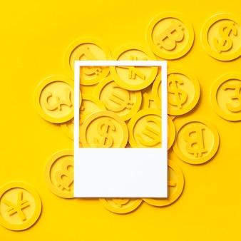 Arte de papel artesanal de monedas de oro.
