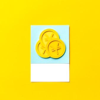 Arte de papel artesanal de monedas de yen japonés.