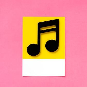 Arte de papel artesanal de una nota musical.