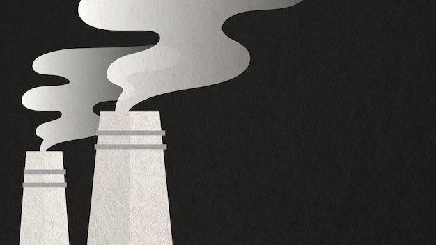 Arte de papel gris de las plantas de energía de la contaminación del aire