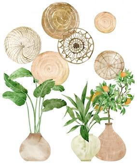 Arte de pared de disco tejido redondo de acuarela y plantas en maceta