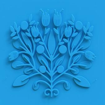 Arte popular 3d flor tarjeta de felicitación 3d render ornamento botánico ilustración
