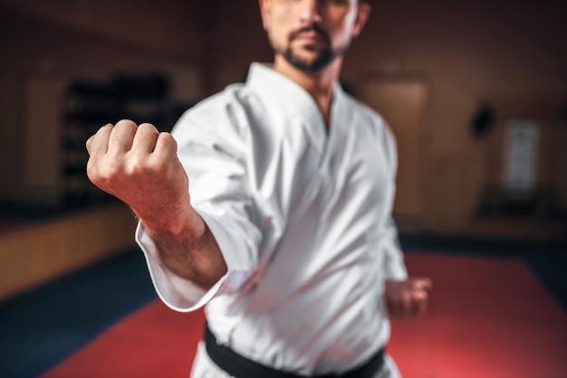 Artes marciales, luchador en kimono blanco, cinturón negro