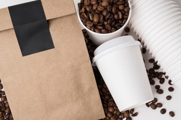 Artículos de marca de café planos laicos