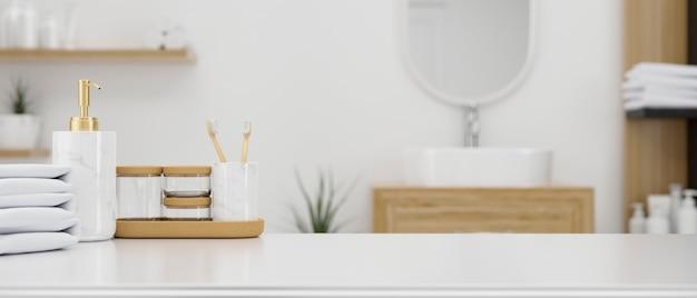 Artículos de tocador, contenedores de baño y toallas sobre una mesa sobre un interior de baño minimalista 3d