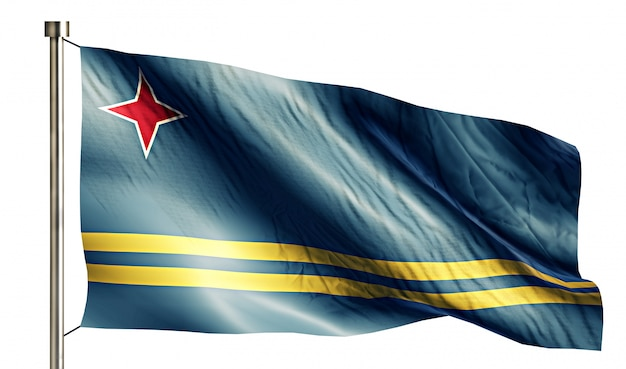 Aruba bandera nacional aislado fondo blanco 3d