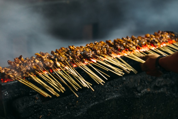 Asado de carne, pollo y cordero satays con carbón vegetal.