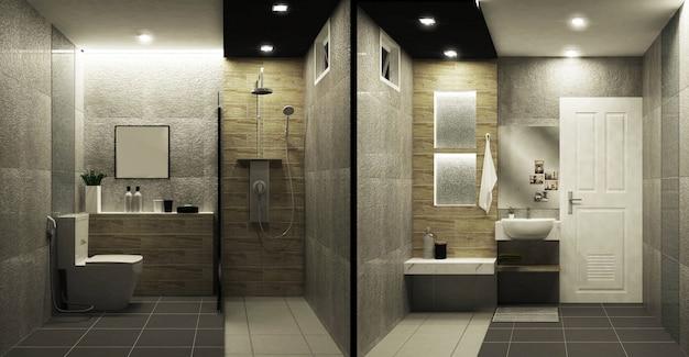 Aseo estilo loft de azulejos de dos tonos de diseño interior. representación 3d