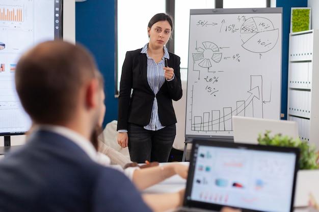 Asesor financiero sosteniendo una presentación para la empresa en la sala de juntas.