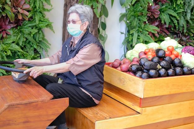 Asia anciana anciana mujer con frutas y verduras en carro de madera de la granja
