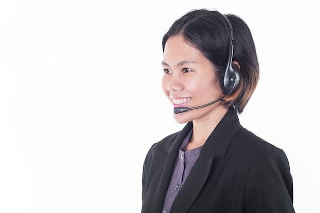 Asia mujeres sonriendo feliz operador de atención al cliente con auriculares