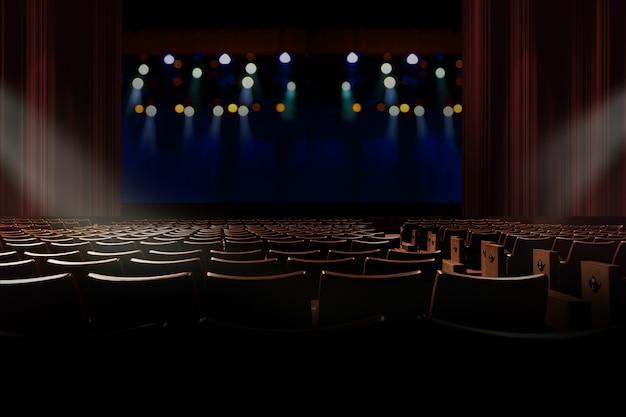 Asiento vacío en auditorio vintage o teatro con luces en el escenario.
