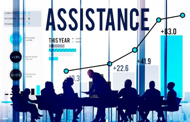 Asistencia apoyo ayuda ayuda concepto corporativo