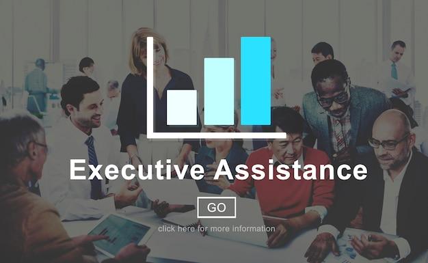 Asistencia ejecutiva colaboración empresarial ayuda al concepto
