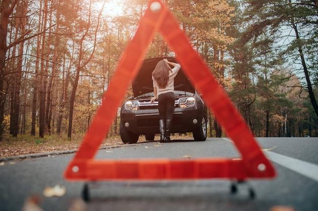 Asistencia y seguro de automóvil, problemas durante el viaje concepto