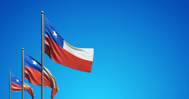 Asta de bandera 3d que vuela chile en el cielo azul