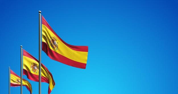 Asta de bandera 3d que vuela españa en el cielo azul