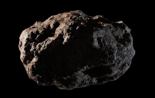 Asteroide aislado sobre fondo negro