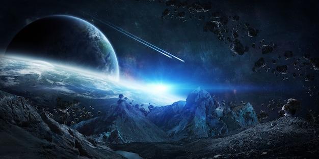 Asteroides gigantescos a punto de estrellarse renderizado 3d