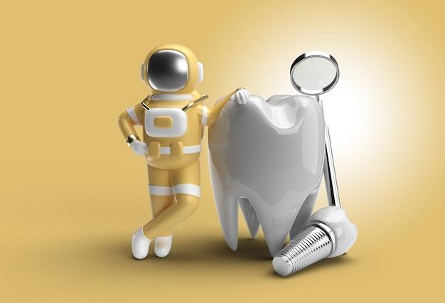 Astronauta con concepto de cirugía de implantes dentales trazado de recorte creado con la herramienta pluma incluido en jpeg fácil de componer.