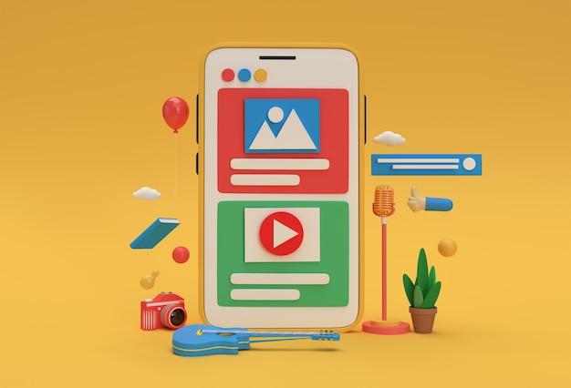 Astronauta creativo 3d render volando con cohete y botón de reproducción de video para banner de desarrollo web, material de marketing, presentación, publicidad en línea.