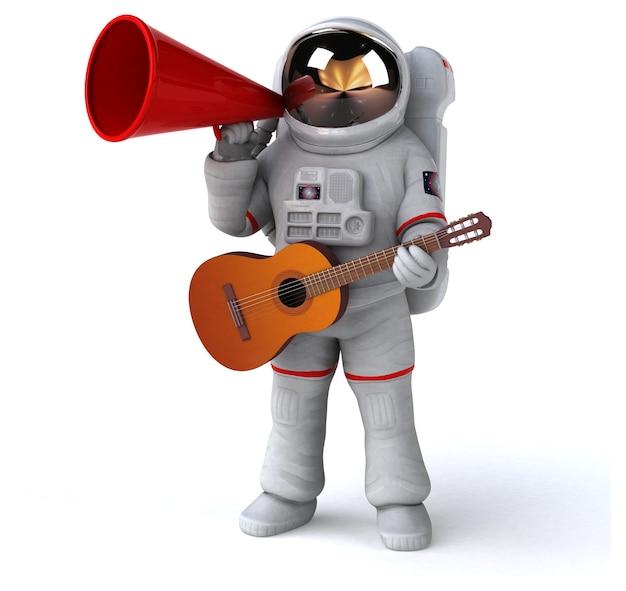 Astronauta divertido - ilustración 3d