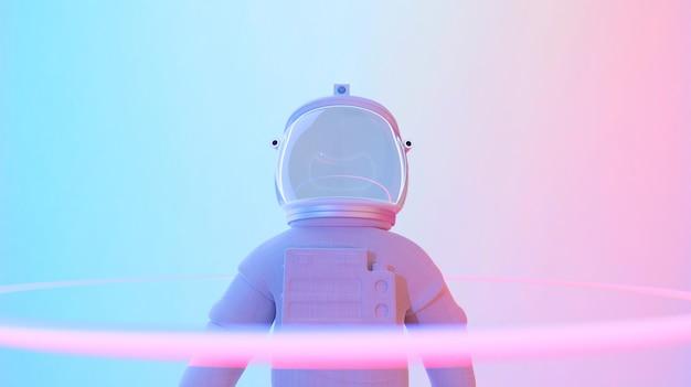 Astronauta de pie en el fondo psicodélico