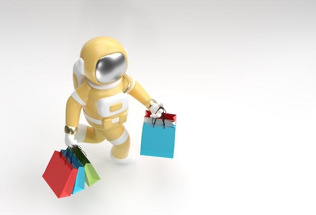 Astronauta de renderizado 3d con diseño de ilustración 3d de bolsas de la compra.