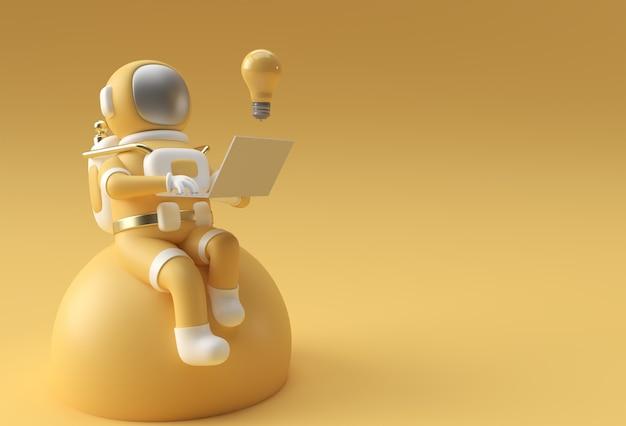 Astronauta de renderizado 3d en traje espacial trabajando en una computadora portátil, diseño de ilustración 3d.