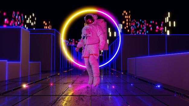 Astronautas con luces de neón en la representación 3d del paisaje de la ciudad de sifi