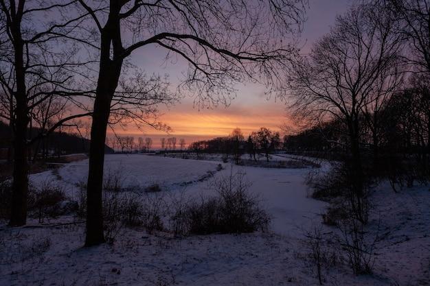 Atardecer fascinante cerca del histórico castillo de doorwerth durante el invierno en holanda