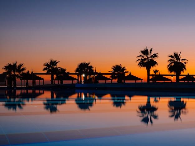 Atardecer con palmeras silhuettes y reflejo en piscina.