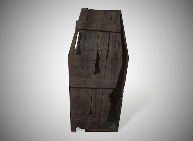 Ataúd de madera antiguo sobre el fondo blanco.