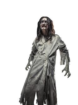 Un aterrador zombi no muerto. víspera de todos los santos.