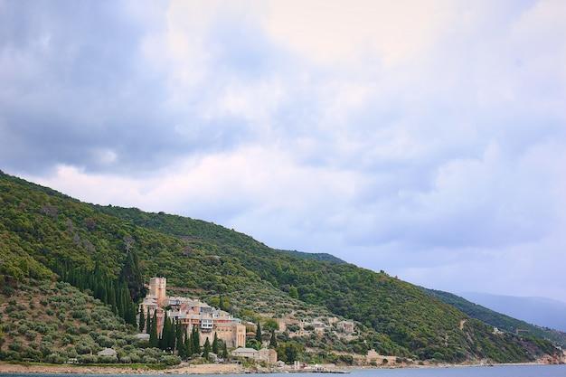 Athos greece mounastery sea