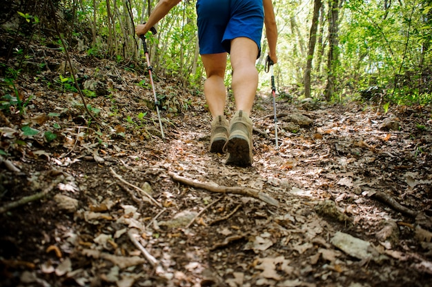 El atleta activo sube el bosque usando equipo especial para la marcha nórdica