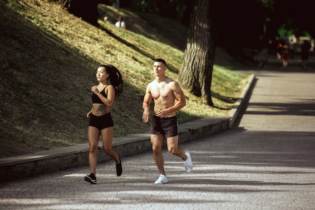 A atletas musculosos haciendo ejercicio en el parque. gimnasia, entrenamiento, entrenamiento físico, flexibilidad.
