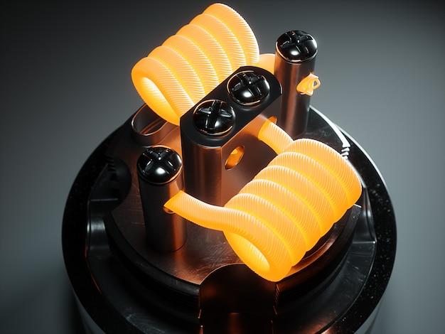 Atomizador de vapeo con bobina clapton. fondo negro