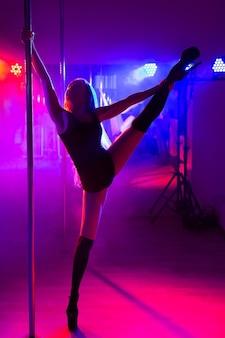 Atractiva joven bailarina de barra sexy realiza