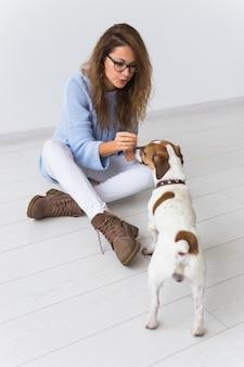 Atractiva mujer alegre en suéter azul jugando con su mascota favorita