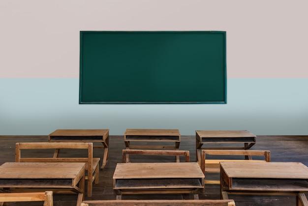 Aula antigua en la escuela con filas de escritorios de madera vacíos