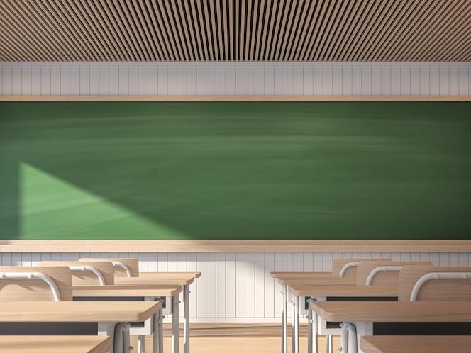 Aula contemporánea moderna con render 3d de pizarra vacía decorada con escritorios de madera para estudiantes