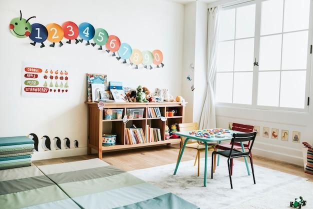Aula de diseño de interiores de jardín de infantes.